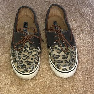 Cheetah Print Sperry Top Siders - size 8.5